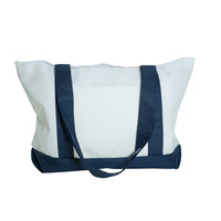 91290 Navy Blue and White Tote Bag Front